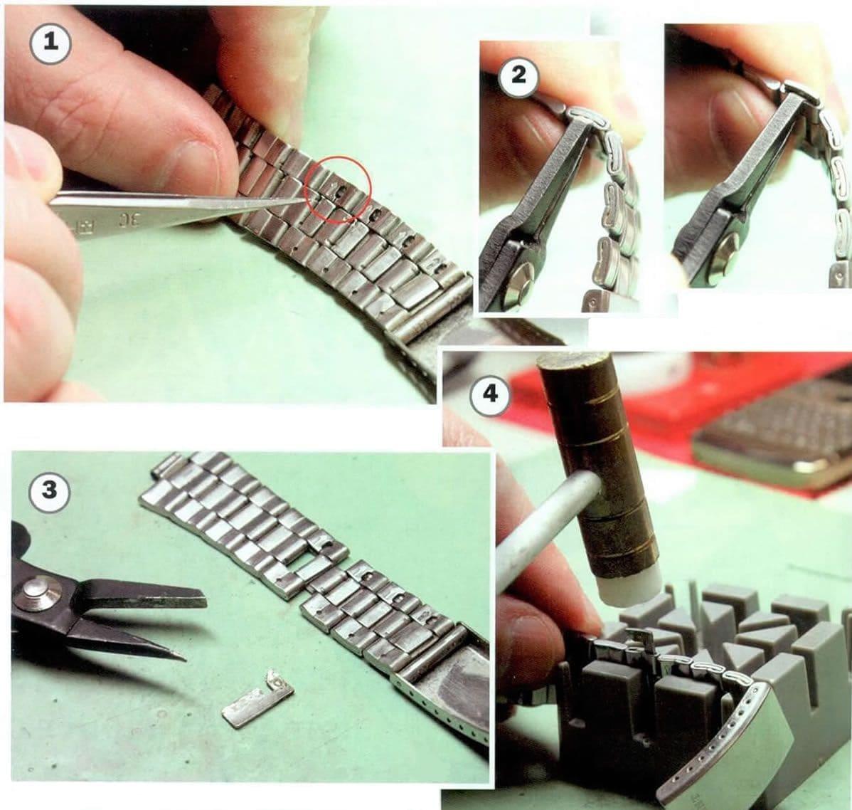 уменьшить браслет на часах